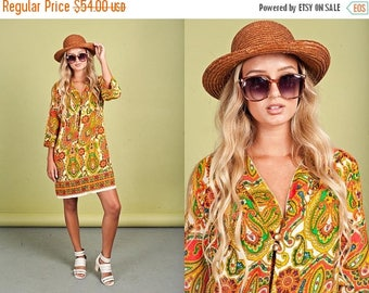 FLASH SALE 60s Yellow Boho Tunic Vintage Paisley Hippie Colorful Long Sleeve Dress