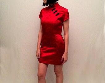 ON SALE 20% off VINTAGE 90s Cheongsam Minidress Cardinal Red Satiny Wiggle Dress Holiday Christmas Cocktail Party Dress