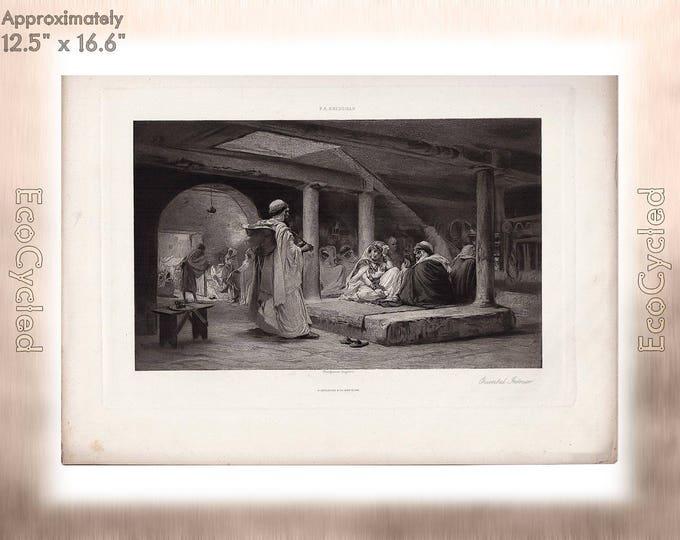 Oriental Interior by FA Bridgman Frederick Arthur Bridgman Antique Photogravure Print Goupil Vintage Paper Ephemera zyxG18