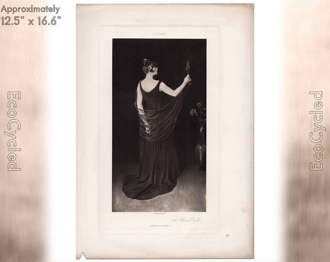 A Blond Profile by William T Dannat Antique Photogravure Print Goupil Vintage Paper Ephemera zyxG29