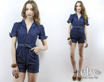 70s Denim Romper 1970s Denim Romper Dark Denim Romper Shorts Romper 1970s Romper 70s Romper Denim Jumpsuit Mechanic Jumpsuit Playsuit XS S