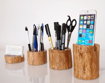 iPhone docking station - office accessory - office organizer - pen holder - card holder - handmade from hardwood