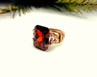 Edwardian Style Prong Ring in Red