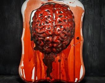Handmade Brain Hemorrhage Gory Bloody Wall Plaque Macabre