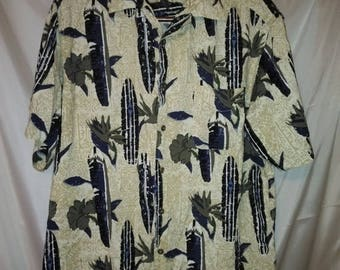 "BIG SUMMER SALE 90s Vintage Aloha Shirt-Hawaiian Style-Route 66-Man Mens Hawaii-Resort Beach Cruise Luau Casual Surfer-48"" Chest-Large-"