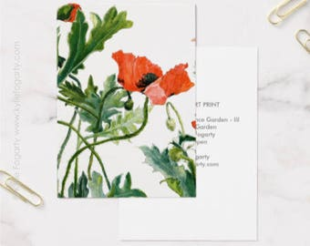 ACEO Print, Red, Black Poppy ACEO, Fine Art Print, Remembrance Garden iii,  Flanders Poppy, Kylie Fogarty Art, Collectable Art,ATC