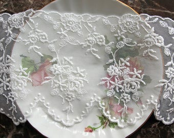 Reneabouquets Trim- 4.25 Inch Wide Flower Crown Lace, Embroidery,  Venice , Bridal, Costume Design, Lace Applique, Crafting
