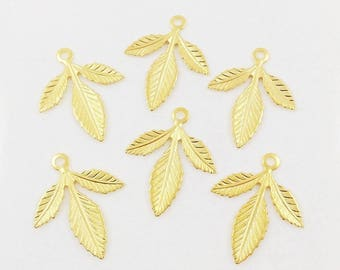 Gold Brass Leaf, Brass Leaves, Leaf Stamping, Brass Drop, Headpiece Supply, Earring Dangles, 30mm x 25mm - 6 pcs. (gd333)