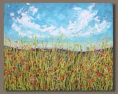 FREE SHIP abstract painting, field painting, landscape painting, fluid painting, wild flowers, floral, drip painting, impressionist art