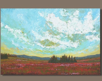 FREE SHIP large landscape painting, semi abstract painting, cloud painting, field landscape, oblong, nova scotia, fields of flowers