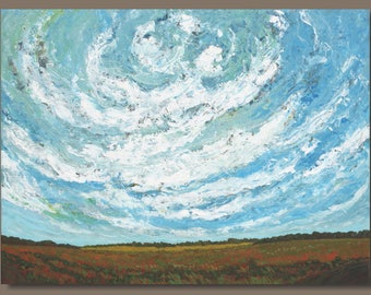huge field painting, large sky painting, clouds, cloud painting, large landscape painting, impressionist painting, sage mountain studio