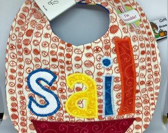 SAIL boat // Baby Bib  // Nautical Applique // Reversible // Gift Set // Christmas // Baby Shower // Under 10 // For Baby // Birthday