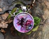 Captured - Faerie Dried Flower and Resin Necklace