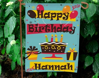 Personalized Happy Birthday Flag House or Garden Flag Custom Name Gift
