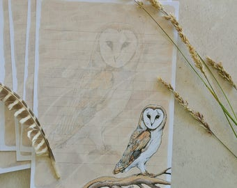 Barn Owl Writing Set - Handmade and Illustrated - Printed Envelopes -  Woodland Art - Owl Gift Set - Eco-Friendly