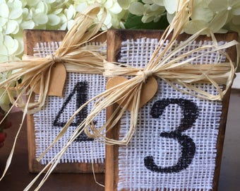 3 Wood Block Table Numbers