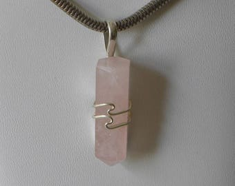 """Rose Quartz Pendant Handmade Pendant 1 3/4"""" Sterling Silver Pendant Natural Pink Crystal Gemstone Wand Healing Jewelry Free Shipping in USA"""