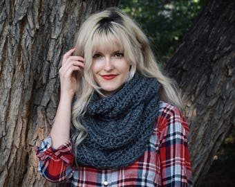 Charcoal Infinity Scarf ⨯ Gray Knitted Cowl ⨯ Chunky Grey Scarf, Women's Fall Fashion ⨯ Big Chunky Knit Blanket Scarf, Infinity Scarf Cowl