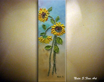 Sunflower Original Abstract Textured Painting Acrylic on Canvas Palette Knife Impasto SUNFLOWER Vertical Artwork Ready to Ship by Nata S.