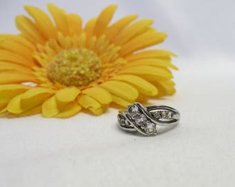 Topaz 925 Sterling Silver Ring, Vintage Ring Size 5.25, Triple White Topaz Stones, 2tcw, Made By SUN, Gift for Women