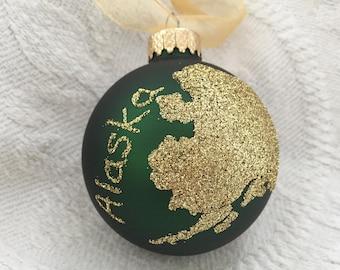State of Alaska Glass Ornament, Alaska Glitter, Personalized Christmas Ornament, Alaska