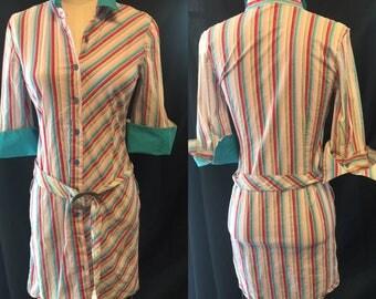 Shirt dress retro teal pink pinstriped day mini dress 1980 xsmall small
