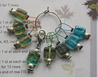 Limited edition 8 knitting stitch markers Sea glass