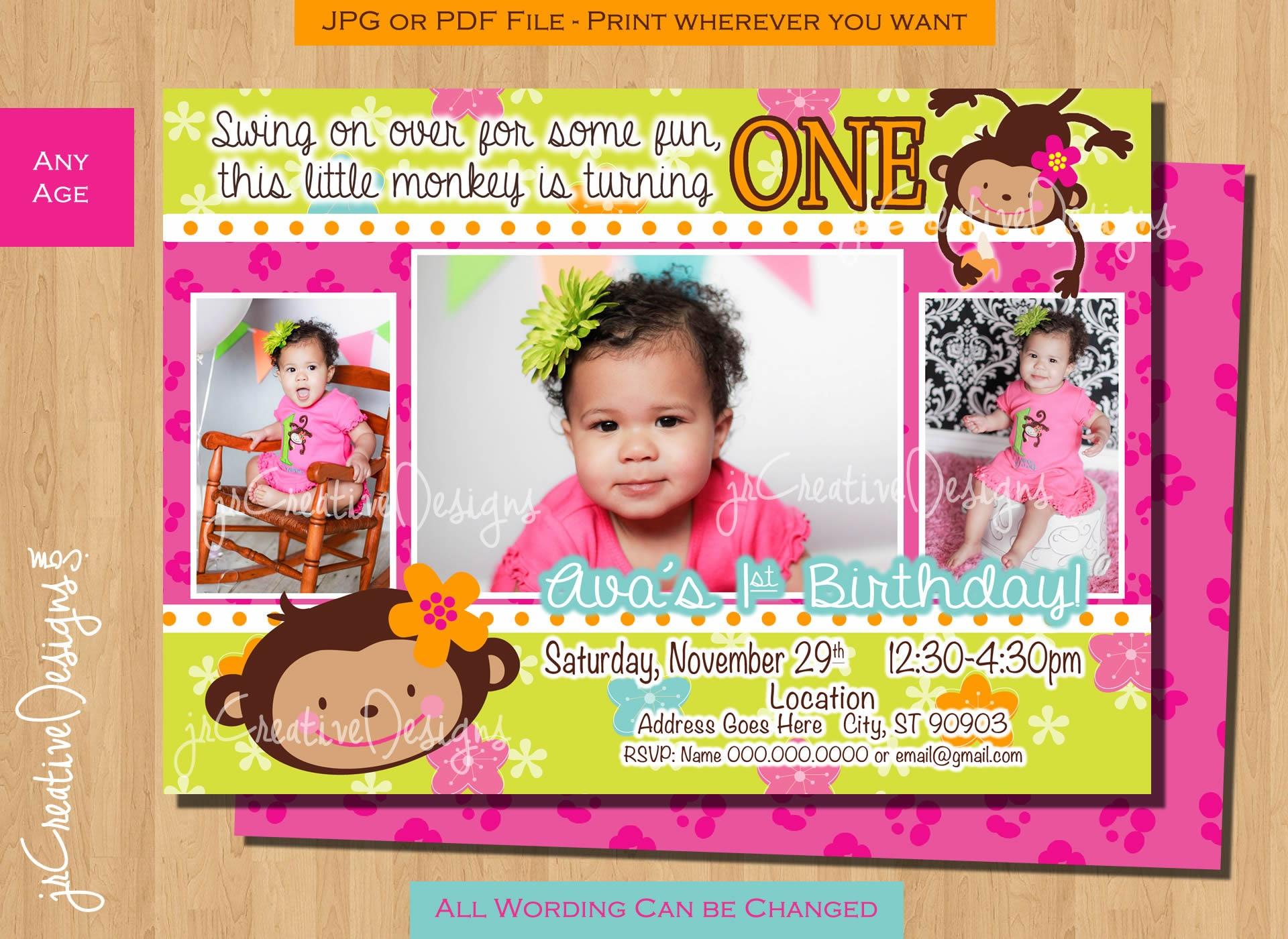 Monkey Birthday invitation Girl Monkey Party Ideas Monkey 1st
