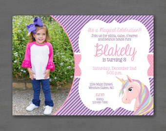 Unicorn Pink Purple Birthday Party Photo Invitation--Printable Invitation