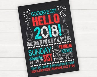 New Years Eve Party Invitation, New Years Party Invitation, Printable Invitation, Printed Invitations