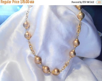 50% Off Sale Trifari Gold Bead and Large Link Retro Necklace