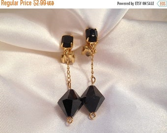 50% Off Sale Vintage Black Faceted Bead Dangle Drop Fashion Statement  Clip Style Earrings
