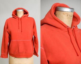 60s Sweatshirt Red Hooded Distressed Hoodie Sweatshirt