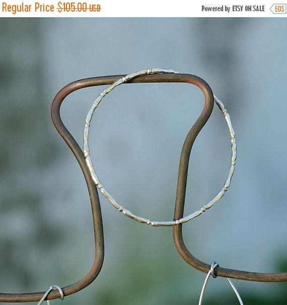 ON SALE Stacking Bangle Bracelet - Sterling Silver Stackable Bangle - Bamboo