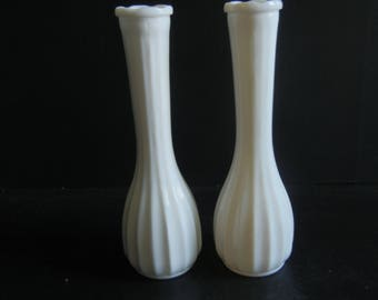 2 Solid Milkglass Ribbed Bud Vases