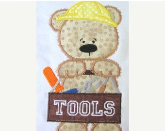 ON SALE Boy Toy Bear 04 Machine Applique Embroidery Design 4x4 & 5x7