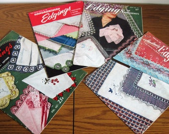 4 Vintage Handkerchief Edgings Pattern Books  By Clark's DMC and Star Circa 1950's