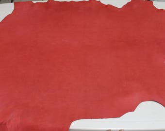 Italian thick Lambskin Lamb leather skin hide skins hides UNFINISHED RED 9+sqf #A2587