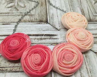 Mini Rosette Necklace Statement Necklace Rosette Necklace Bib Necklace Ombré Necklace Pink Necklace Fabric Rosette Necklace Rosette Jewelry
