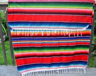 "Vintage hand woven Mexican Blanket Sarape Satillo 44"" Wide by 84"" rectangular woven blanket rainbow colorful fringed excellent condition"