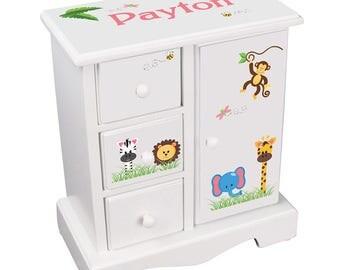 Personalized Girls Jewelry Boxes White Wood Armoire with Jungle Animal Jewelry Box Safari Zoo Animals pink Design jewee-whi-224