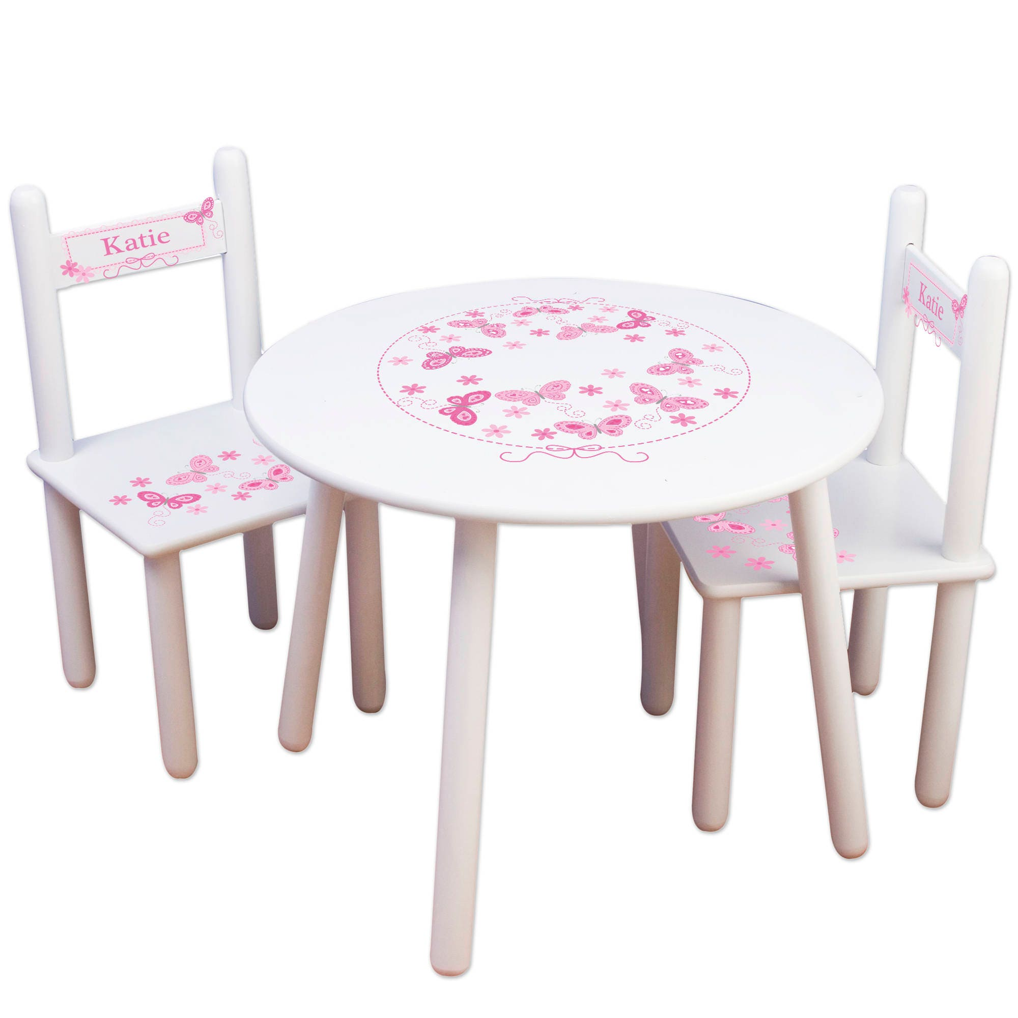 girl 39 s butterfly table chair set round tables and chairs. Black Bedroom Furniture Sets. Home Design Ideas