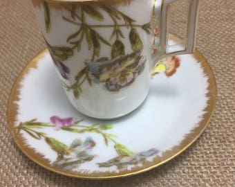Hand Painted Floral Limoges Demi Tasse Cup and Saucer