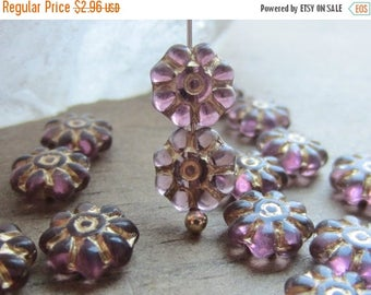 ON SALE Czech Glass Daisy Bead Amethyst Gold Inlay 8mm QTY 15