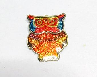 Vintage oWL Brooch, Enamel, Glittering, Gold Tone, Animal Figural, Clearance SALE, Item No. B473