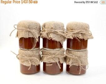 SALE 15% Off Ends Sunday 175 Rustic Burlap and Twine Mini Mason Jar Apple Butter Favors , Barn Wedding Favor Ideas, Mason Jar Wedding Favor