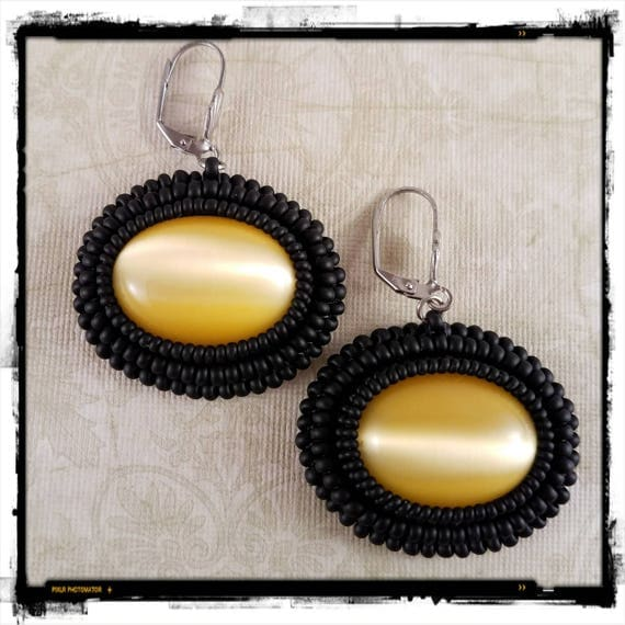 Vintage Yellow Cat Eye Glass Earrings with Beaded Black Frame