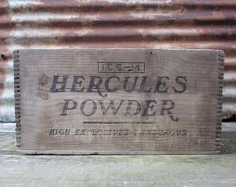 Antique Explosives Crate Dynamite Crate HERCULES Powder Wood Crate Wooden Dynamite Box Rusitc Crate Primitive Box Antique Coal Mining