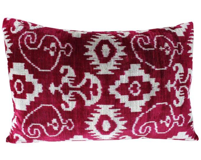 Silk Velvet Ikat Pillow Cover Lp410, Bohemian pillow, Velvet Ikat Pillow, Velvet Pillow, Velvet Pillow Cover, Ikat Pillows, Throw Pillows