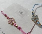 RESERVED for Sue, 2 Gold Daisy Bracelets, Gold Beaded Cotton, Gold Enamelled Flower, Adjustable Bracelets.